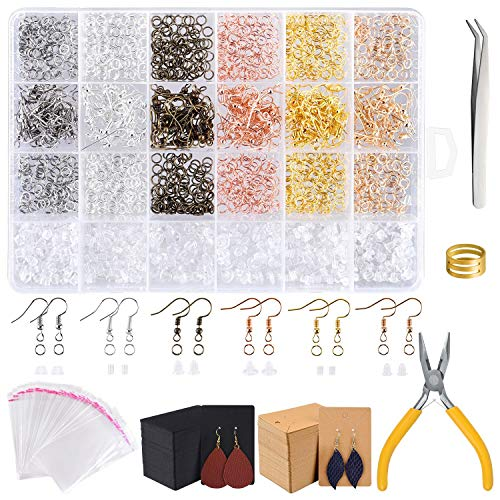 TUPARKA 2300PCS Schmuck Basteln Zubehör,ohrringe selber machen Ohrhaken Biegeringe, Ohrringkarten für die Schmuckherstellung und die Reparatur von Ohrringen,Ohrringe Armband Halskette DIY Anfänger