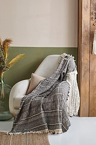 BOHORIA® Musselin Tagesdecke The Aztec Throw Single extra groß 130x170cm | 100prozent Baumwolle | Oeko-Tex® | Überwurf für Sofa, Sessel und Bett | Sofadecke Wolldecke Wohndecke (Obsidian)