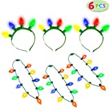 JOYIN 6 Pieces Christmas LED Light Up Headband and Necklace with 6 Flashing Modes Party Supplies Accessories