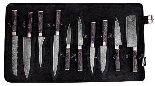 GladiatorsGuild G49- Professional Kitchen Knives Custom Made Damascus Steel pcs of Professional Utility Chef Kitchen Knife Set Round Wood Handle with Pocket Case Chef Knife Roll Bag (10, Black)