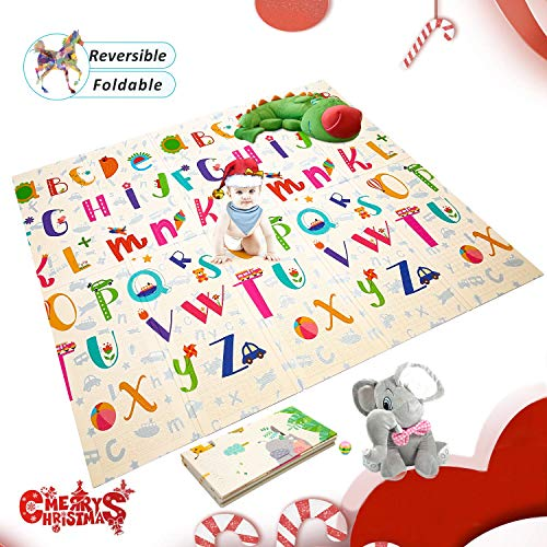 Extra Large Baby Play Mat Foldable Reversible Non Toxic Foam Crawl Playmat Waterproof Kids Baby Toddler Outdoor or Indoor Use 708x78x04in