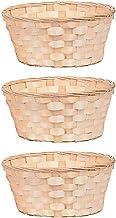 EXCEART Wicker kosz piknikowy, 3 sztuki, z bambusa, pleciony kosz na owoce, rattan, do domu, na wesele, imprezę, dekoracj...