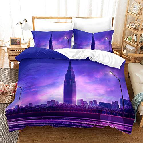 Juego de Ropa de Cama 3 Piezas Ciudad de Noche Tres Piezas Home Bed Set Print Es Y Liviana Funda de Almohada de poliéster Ultra Suave Fundas 140cm x 200cm