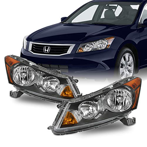 Fits 2008 2009 2010 2011 2012 Honda Accord Sedan 4Door Black Headlights w/Amber Corner Signal Pair Left+Right