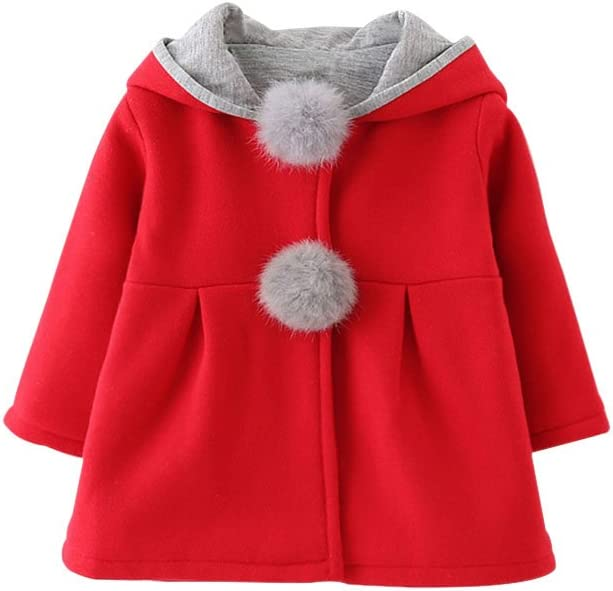 TMEOG Newborn Toddler Baby Girls Cute Rabbit Ears Cloak Hooded Autumn Winter Warm Coats Jackets Outerwear Outwear Winter Clothes