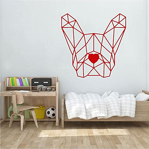 Calcomanía de vinilo para pared de Bulldog francés, pegatinas artísticas de perro poligonal, decoración de dormitorio, Mural para mascotas, mosaico, decoración del hogar, 49x85cm