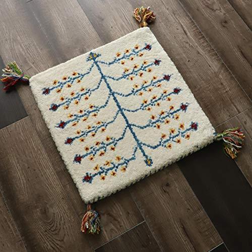グラムスタイル ギャベ ギャッベ ギャッペ マット ウール 手織り 座布団 (40x40cm) アイボリー
