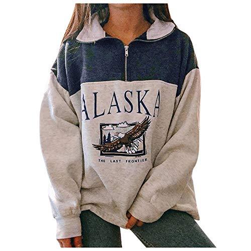MA87 Lange Ärmel Pullover Damen, Winter Polo mit Adler Motiv, Sweatshirt Übergroße Bunter Cartoons Pullover Teenager Mädchen Sportbekleidung Sweatshirt für Frauen
