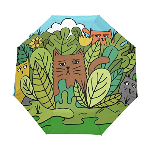 Paraguas compacto de viaje para gatos en el jardín, paraguas plegable para...