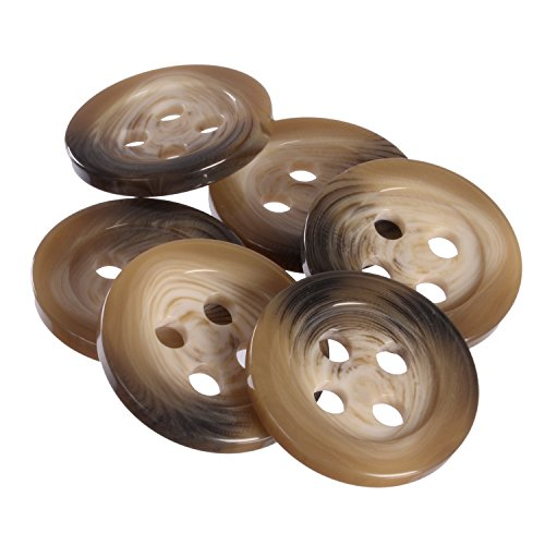 Mibo Polyester Coat Button - 4 Large Holes with Wide Rim - Beige/Brown Mix - 54 Line