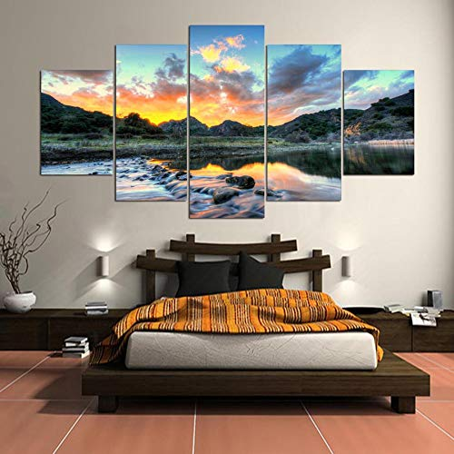 5 Canvas paintings Fashion Painting Wall Artwork Prints Home River Decoration Pictures Landscape For Living Room Frameless