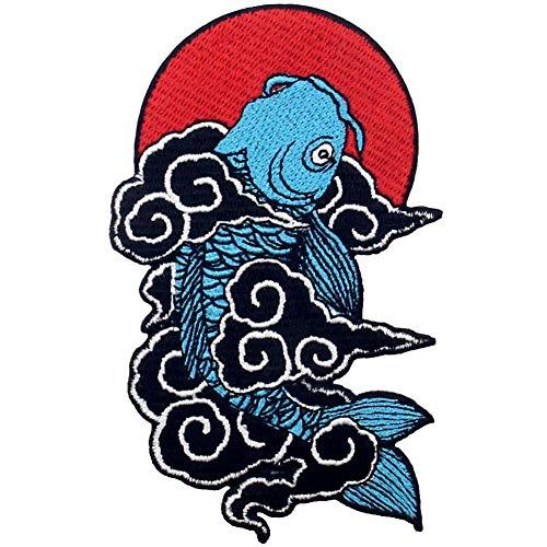 Aufnäher, bestickt, Design: Japanische Koi Fische, zum Aufbügeln oder Aufnähen