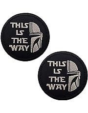Parche táctico con cierre bordado con gancho y bucle para medio casco This is The Way con diseño de mandalorian, de 8,5 cm, 2 unidades