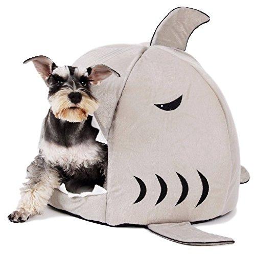 Ducomi Lo Squalo Cuccia per Cane e Gatto con Morbido Cuscino Imbottito all' Interno Imbottito Estraibile e Lavabile (M, Grey)