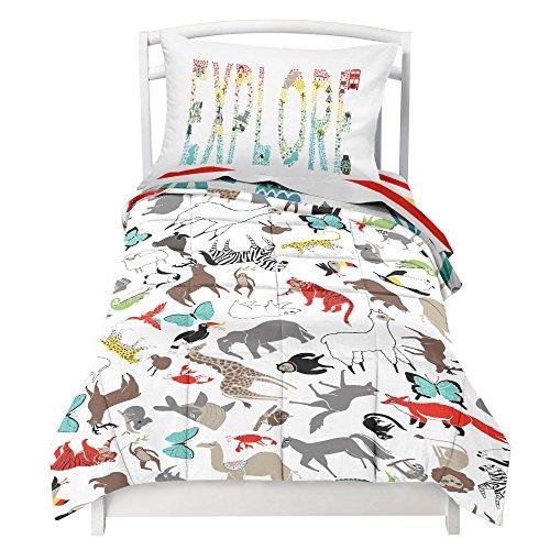 Where The Polka Dots Roam Toddler Reversible Bedding Set World Explorer - Adorable 4 Piece Set (1 Flat Sheet, 1 Fitted Sheet, 1 Pillowcase, Comforter) That fits a Toddler or Crib Mattress