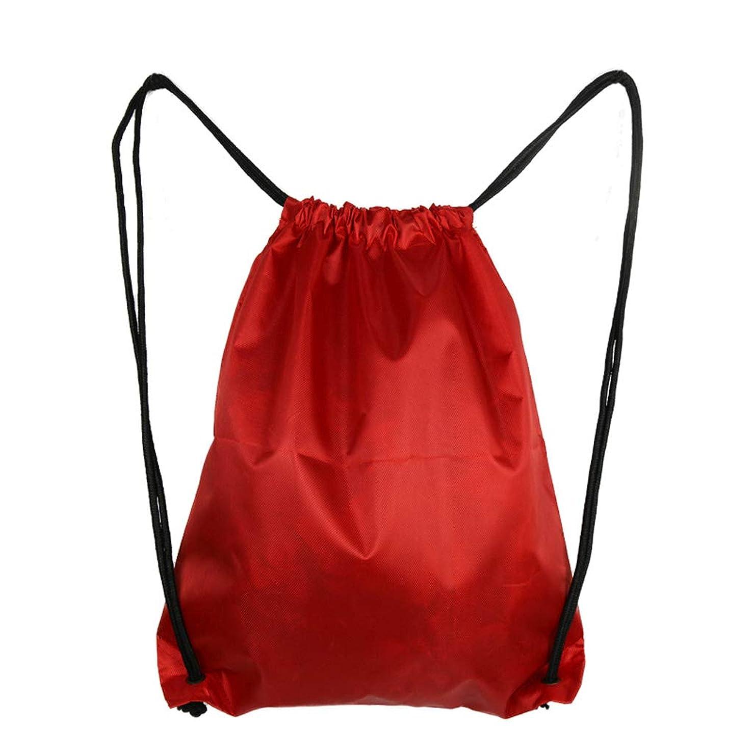 食用取り替える構築するアウトドアドローストリングバックパック防水バッグナイロン折りたたみショルダートートサックバッグピクニックジムスポーツビーチホリデースクールホームトラベル - S (Color : Red)