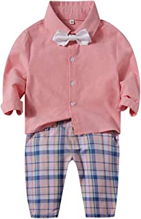 Fairy-Baby Toddler Boys 2-pc Pant Set Long Sleeve Cotton Shirt and Matching Lattice Pants Kids Gentleman Outfit