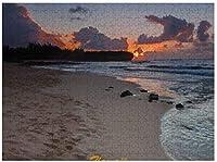 カウアイ島の新しいJSCTWCLシップレックビーチサンライズパズル500ピース木製アダルトジグソーパズルカラー抽象絵画パズル子供向け教育玩具ギフト