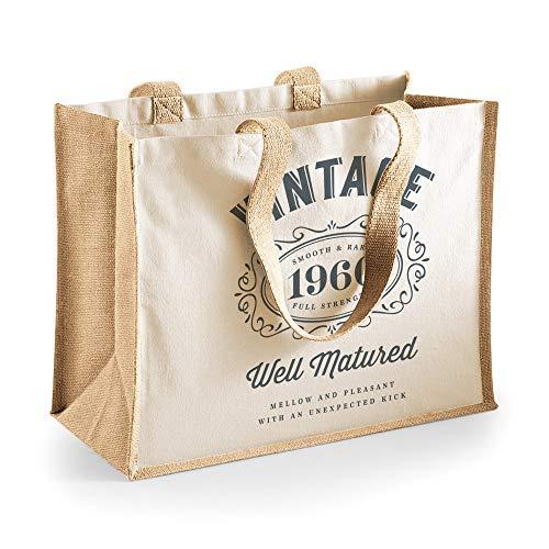 Divertente borsa shopper regalo - per 60° compleanno - tela di cotone - donna - Neutro - 33x42x19cm