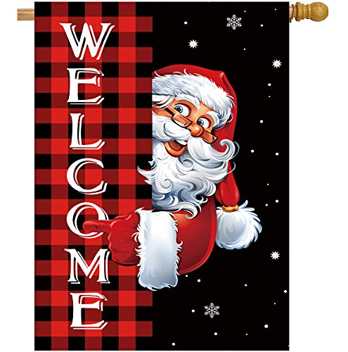 Christmas Garden Flag Double Sided Santa Claus Welcome Buffalo Plaid Yard Flag Farmhouse Xmas Winter Holiday Small Banner Lawn Indoor Outdoor Home Decoration 28 x 40inch