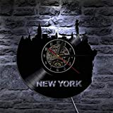 XYVXJ 1Piece New York Vinyl Wall Clock LP Record Time Clock NY City Sightseeing Vintage Wall Art Clock with LED Illumination-with_LED