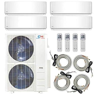COOPER AND HUNTER Multi Zone Quad 4 Zone 12000 12000 12000 24000 Ductless Mini Split Air Conditioner Heat Pump Full Set WiFi Ready