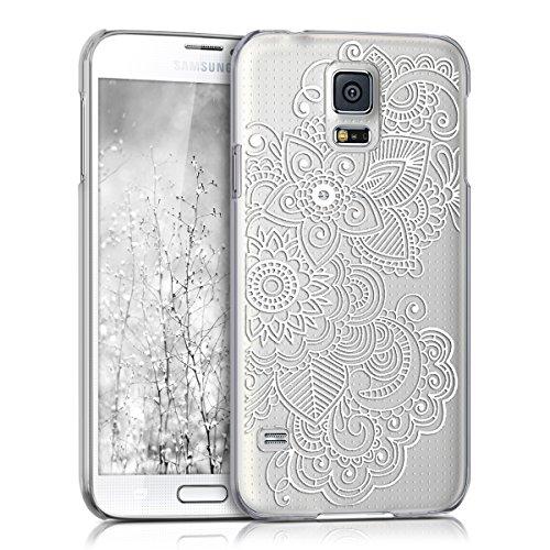 kwmobile Cover Compatibile con Samsung Galaxy S5 / S5 Neo - Custodia Rigida Trasparente per Cellulare - Back Case Cristallo in plastica - Etnico Bianco/Trasparente