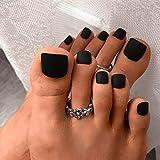 press on toenails - ELABEST Solid Color Matte False Toe Nails Chic Press on ToeNails Short Square Full Cover 24PCS Fake Toenails for Women and Girls (Black)