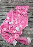Strampler Overall warm Sterne rosa mit Ohren 80/86