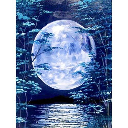 Lazodaer Kit de pintura de diamante para adultos, niños, oficina, decoración de la habitación, regalos para ella y la luna en el bosque de bambú, 30 x 39,9 cm