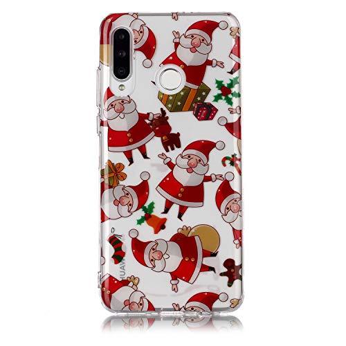 Karomenic Weihnachten Silikon Hülle kompatibel mit Huawei P30 Lite Christmas Schutzhülle Weiche TPU Durchsichtig Handyhülle Crystal Klar Transparent Stoßfest Tasche Case Cover Bumper Schale,#3