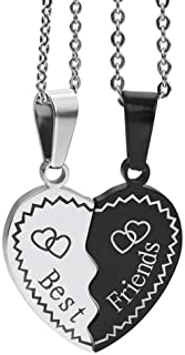 MJartoria Kids BFF Necklaces for 2 Split Heart Necklace Best Friends Forever Pendant Friendship Necklace Set