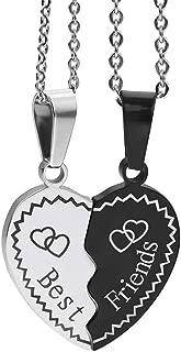 BFF Necklaces for 2 Split Heart Weirdo 1 Weirdo 2 Best Friends Forever Pendant Friendship Set (Best Friends-Blue)