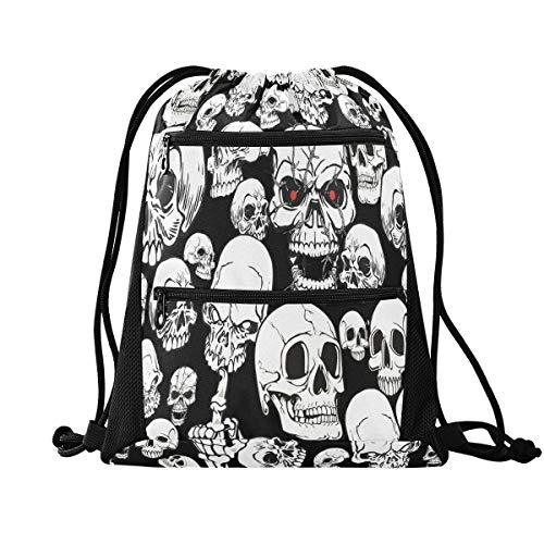 Rucksack mit Kordelzug – Horror-Totenkopf-Kordelzug mit Tasche mit Reißverschluss, Sport-Rucksack für Wandern, Yoga