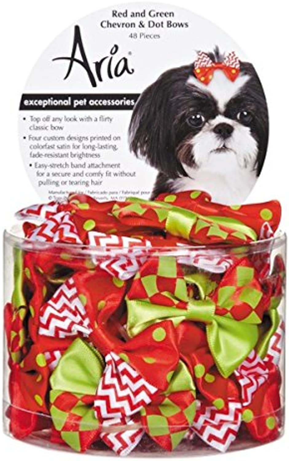 Aria and Green Chevron Dot Bows, 48 Pieces & Red nfzewp3585-New pet