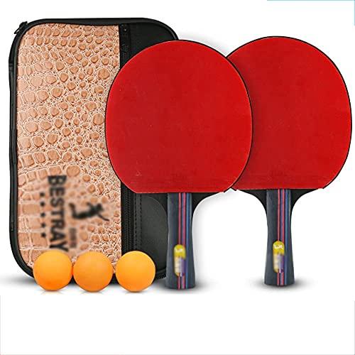 JIANGCJ bajo Precio. 6 Estrellas Professional Ping Pong Paddle de Entrenamiento avanzado Tabla de Tenis de Mesa con Transporte Case-C
