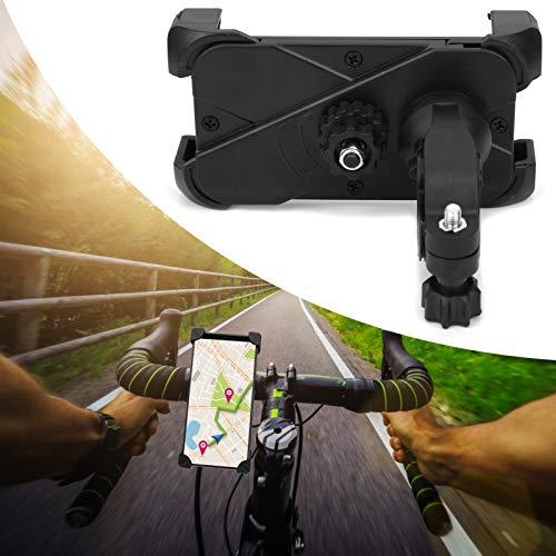 Suporte para telefone para motocicleta, guiador ajustável, travamento duplo, grampo para telefone 360 graus girado com almofada de canto para GPS para smartphones