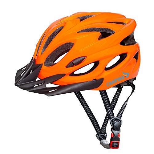 CHARYAR Adult Bike Helmet for Men & Women | 57-62 CM Adjustable Helmet with Visor, 18 Vents, Cycling Bicycle Helmets | Lightweight Helmet for Skateboard and Mountain Road Bike (Orange)