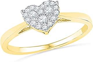FB Jewels 10K Yellow Gold Womens Round Diamond Simple Heart Cluster Ring 1/6 Cttw Size 7