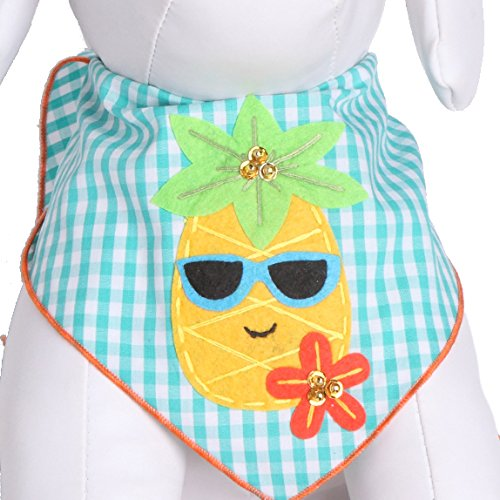 Tail Trends Dog Bandanas Hawaiian Vacation Pineapple Fun Design fits Most Medium to Large Sized Dogs
