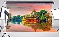 HD 7X5 FT湖は壮大な家の写真の背景の写真撮影の背景スタジオの小道具M808です。