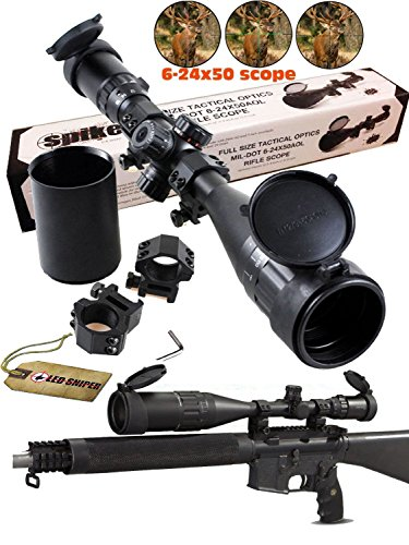 Ledsniperriflescope 6-24x50 Aoe Red & Green & Blue Illuminated Mil-dot Adjustable Intensified Rifle Scope + Sunshade + Flip-up Caps + Rail Mounts