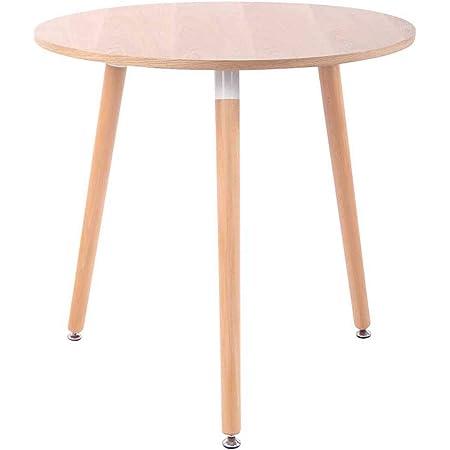 CLP Table de Cuisine Design Retro Ansgar I Table d'Appoint Ronde avec 3 Pieds en Bois Diamètre 80 cm Hauteur de la Table 75 cm I Couleur, Couleurs:Nature, Couleur du Cadre:Natura