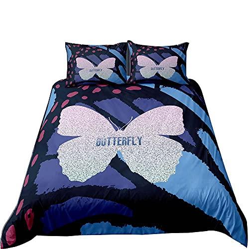 Fundas Nordicas 135 Mariposa Azul Juego de Funda Nórdica con Cremallera 180x200, 1 Funda Nórdica Reversible Microfibra y 2 Funda de Almohada 50x75 cm, Adulto