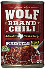 Includes one 15-ounce can of WOLF BRAND Homestyle Chili With Beans Ground beef, pork and pinto beans are combined with tomatoes, green peppers, onions and a special blend of spices Quickly cook on the stovetop or in the microwave to prepare an easy w...