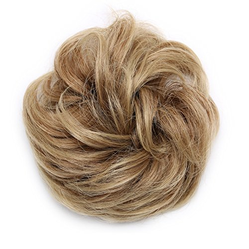 Scrunchy Updo Wavy Straight Hair Bun Clip Messy Donut Chignons Synthetic Hairpiece Hair Extension dark brown to ash blondethicker