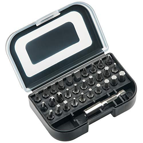 NoCry 31 Piece Screwdriver Bit Set - Universal 1/4 Inch (6.35mm) Hex Bits, Cr-V Steel, Holder Case with Belt Clip included