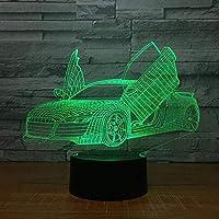 ライトクールスポーツカーLed 3Dナイトライトノベルティ7色変更Usbデスクテーブルランプ3Dイリュージョンランプ男の子のためのギフトアクリルランプ