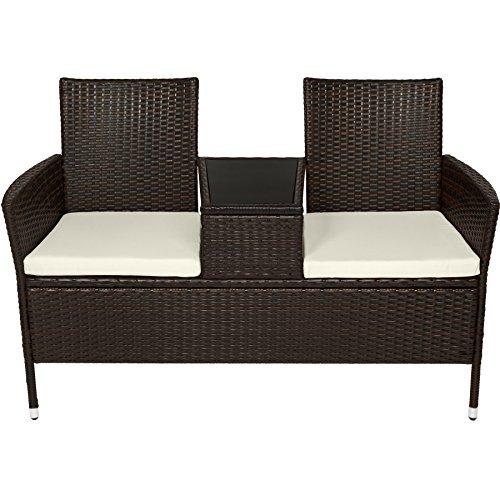 TecTake Sitzbank mit Tisch Poly Rattan Gartenbank Gartensofa inkl. Sitzkissen – diverse Farben – (Schwarz-Braun | Nr. 401548) - 3