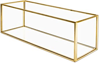 Koyal Wholesale Long Glass Candle Holder Centerpiece Box, Gold 12 x 4 x 4 Inches, Centerpiece Tray Decor, Long Wedding Table Centerpiece Decorations